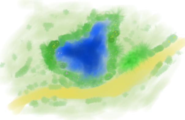 Limites que rodeiam um lago ou mesmo um caminho